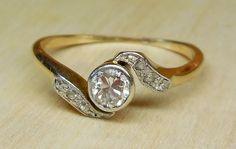 Vintage Antique .31ct Transitional Cut Diamond 18k Yellow Gold & Platinum Bezel Set Unique Engagement Ring 1920's Art Deco by DiamondAddiction on Etsy