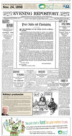 President William McKinley's Thanksgiving proclamation was front-page news in The Repository on Nov. 24, 1898.