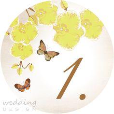 Table number with yellow orchids and butterflies by Wedding Design - Asztalszám sárga orchideákkal és pillangókkal a Wedding Designtól