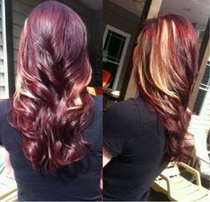 Red with blonde peek a boo highlights