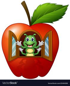 Cartoon caterpillar in the apple house Royalty Free Vector Art Drawings For Kids, Drawing For Kids, Easy Drawings, Art For Kids, Crafts For Kids, Mickey Mouse Classroom, Flashcards For Kids, Apple Home, Pot Jardin
