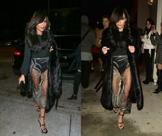 Naya Rivera was recently spotted dining solo at Catch Seafood Restaurant in L.A. — and at first glance it looked like she forgot to put on her bottoms. She rocked a retro black fur coat over a seamless black bodysuit and a very revealing sheer Steven Khalil couture skirt. Is Naya's skirt a little too see-through for your taste, or do you not mind a flash of underwear in the name of fashion? Click through the gallery to see other celebrities who took sheer dresses, high slits, mini skirts…