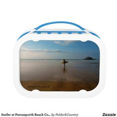 Surfer at Perranporth Beach Cornwall England Replacement Plate