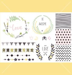 Hand drawn love collection vector - by artnis on VectorStock®