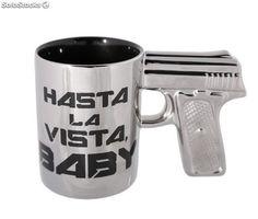 Taza pistola '' hasta la vista baby ''