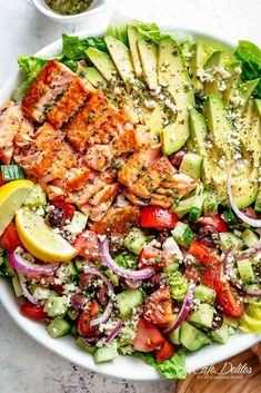 Mediterranean Avocado Salmon Salad Avocado Salmon Salad with an incredible lemon herb Mediterranean dressing! Loaded with cucumber, olives, tomatoes and feta cheese! Salmon Salad Recipes, Best Salad Recipes, Fish Recipes, Seafood Recipes, Cooking Recipes, Healthy Recipes, Cheese Recipes, Smoked Salmon Salad, Salad With Avocado