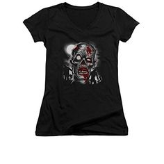 Walking Dead Zombie Face Close Up Junior V-Neck T-Shirt Tee @ niftywarehouse.com #NiftyWarehouse #WalkingDead #Zombie #Zombies #TV