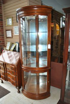 American Of Martinsville Corner Curio Cabinet Solid Cherry Lighted