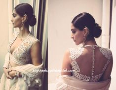 For press junkets at the Hotel Martinez, Sonam looked quite the diva wearing a ruffled Abu Jani Sandeep Khosla sari with a sheer laser cut blouse. Looking at the middle pic from Rhea's Instagram, one would think that it was from a print ad. And perhaps, this look should've been saved for one as well. …