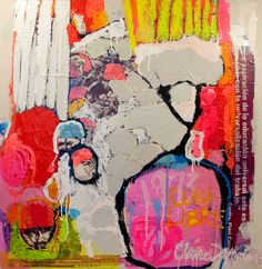 """Cuba Libre"" by Claire Desjardins - 36″x36″, multimedia (paint, collage) on wood panel. 2011."