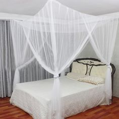 4 Corner Post Mesh Bed Canopy Mosquito Net Full Queen King Size Bed Netting Bedding White x x Canopy Curtains, Canopy Bedroom, Diy Canopy, Canopy Cover, Window Canopy, Backyard Canopy, Garden Canopy, Canopy Tent, Canopies