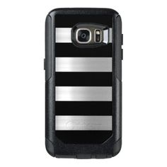 #stripes - #Black & Silver Metallic Stripes OtterBox Samsung Galaxy S7 Case