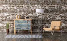 Dresser with distressed blue drawers and yellow wood base to match the rug and modern chair. | living room | home decor