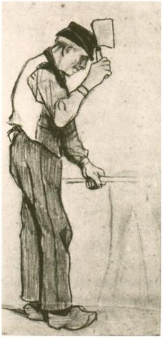 Vincent van Gogh Drawing, Pencil, black chalk Etten: September, 1881 Private collection The Netherlands, Europe F: 894, JH: 20 Image Only - Van Gogh: Peasant with a Chopping Knife