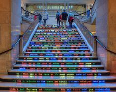 Jitish Kallat's Public Notice 3 installed on the Art Institute of Chicago's Grand Staircase