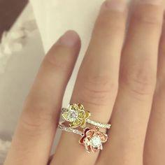 Flower Design Diamond Engagement Ring Settings 14k by ldiamonds