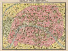 PARIS I Old Maps of Paris - Year 1920