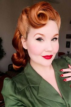 24 Modern-To-Vintage Victory Rolls Styles To Add Some Pin-Up Vibes - Rockabilly style inspiration brought to you by Charlemagne Premium Grooming - Wedding Hairstyles Bandana Hairstyles, Retro Hairstyles, Trending Hairstyles, 1950s Hairstyles For Long Hair, Homecoming Hairstyles, Party Hairstyles, Pin Up Hairstyles, Vintage Hairstyles Tutorial, Updo Hairstyle