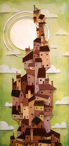 les couleurs sont le vert, le brun et le jaune il y à des formes carré et triangulaire mais aussi ronde. Le sujet est des maisons en montagnes je sens je la joie et de la surprise en même temps quand je voie les maisons en piler en montagne le message dans ma tête est que même si c'est difficile aller jusqu'en haut en persévérant on peu y arriver !