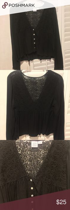 somedays lovin top NWOT, never been worn. somedays lovin black top with lace detail - has a crop fit with flowy bottom and bell sleeves. lace on back is see thru. would be cute with high waisted bottoms or as a crop top. Somedays Lovin Tops Tees - Long Sleeve