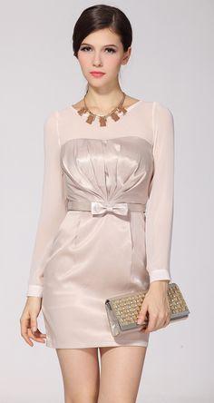 Beige Long Sleeve Bow Belt Slim Party Dress US$27.01