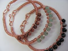 Copper wire bangle bracelets beaded three bangle set. $50.00, via Etsy.