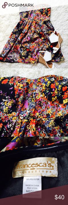 Strapless Black & Floral Dress! Strapless Black & Floral Dress! The bright colors make this dress pop! Strapless but has padding so you could wear without a bra if you wanted. This is a reposh, I bought to wear to a wedding but ended up wearing something else. Fully lined and in great condition - no tears or stains! Shoes in cover photo not for sale.  Francesca's Collections Dresses Strapless