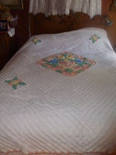 Vintage Chenille Bedspread, White with Pastel Flowers, Pink, Yellow, Blue