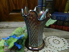 Vintage 1920's Iridescent Smoky Carnival Glass Vase - Imperial Glass Co - Diamond Pattern by allthatsvintage56 on Etsy