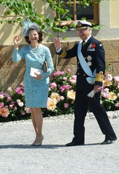 Queen Silvia and King Carl Gustaf of Sweden arrives for Princess Leonore's Royal Christening at Drottningholm Palace Chapel on 08.06.2014 in Stockholm, Sweden.