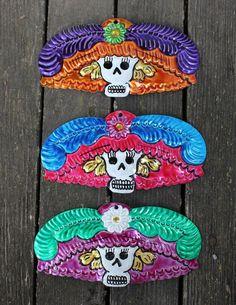 Mexican Catrina Head, Day of the Dead, Dias De Los Muertos, Tin Oaxaca Folk Art