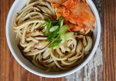 A guilt-free alternative for Asian takeout - vegetarian udon with shiitakes and kimchi
