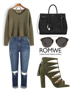 """ROMWE Sweater"" by tania-alves ❤ liked on Polyvore featuring River Island, Brunello Cucinelli, Yves Saint Laurent and Christian Dior"
