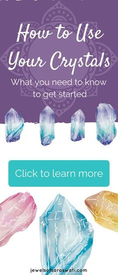 How to Use Your Crystals! Learn what you need to know to get starting choosing, cleansing and using your crystals and gemstones. Meditation, crystals, crystal healing, yoga, spirituality, reiki, gemstones, jewelry