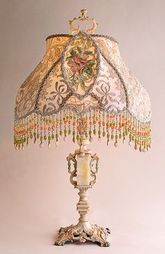 Christine Kilger's Nightshades are one-of-a-kind victorian lampshades with hand-beaded shades on period lighting fixtures and are designed and created with rare antique fabrics, appliqués and embellishments circa Victorian Lamps, Antique Lamps, Vintage Lamps, Chandelier Design, Chandelier Lamp Shades, Pendant Lamps, Pendant Lights, Tiffany Lamps, Lampe Applique