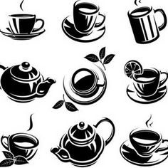 Teacup and Teapot Silhouette Vector