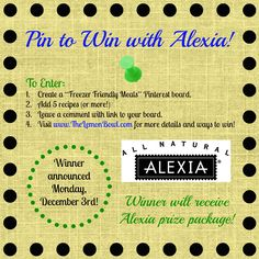 Healthy Freezer Friendly Meals - Pin to Win with Alexia Foods!