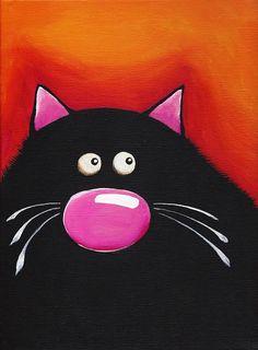 Fat Cat Art - Original on Canvas