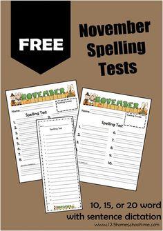 FREE Printable November Spelling Tests