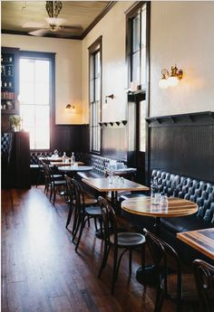 White walls reclaimed floors painted dark bead board and trim inspiration image  Note Not proposing Banquets along walls