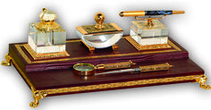 #Leather , #crystal ,24kt #gold - materials used for the most luxurious deskset with intricate details - close to your heart!