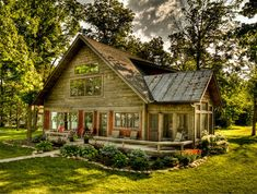 rustic-exterior rustic house Dreamy lakefront cabin exuding rustic charm in Northern Minnesota Cottage Plan, Rustic Cottage, Cottage Style, Cottage House, Farm House, Plan Chalet, Ski Chalet, Rustic Exterior, Exterior Siding