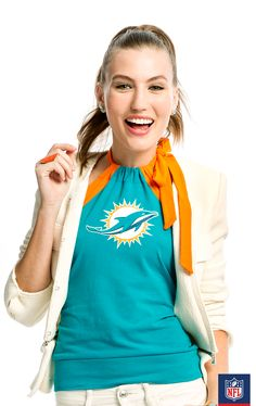 It's all about white in Miami and this green Dolphins top is great to wear under a white blazer.