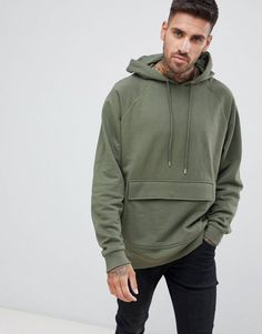 Buy ASOS DESIGN oversized hoodie in khaki with map pocket at ASOS. Get the latest trends with ASOS now. Hoodie Sweatshirts, Hoody, Hoodie Outfit, Mens Designer Hoodies, Hoodies For Men, Asos, Bleach Shirts, Stylish Men, Shirt Style