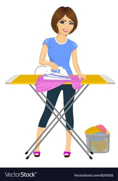 Woman ironing clothes Housework vector image on VectorStock Free Vector Images, Vector Free, Bow Tie Suit, Fish Vector, How To Iron Clothes, Vector Portrait, For Sale Sign, Retro Cars, Cute Little Girls