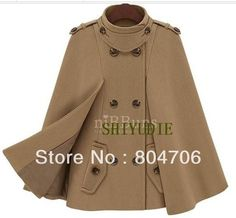 New Hot Women's Celebrity Winter Double Breasted Trench Poncho Jacket Cape Coats navy blue or khaki