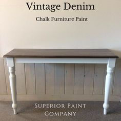 Hall table stained top with SamaN Chocolate stain - Water-based stain – Superior Paint Co. Chalk Paint Furniture, Furniture Design, Water Based Stain, Paint Companies, Stained Table, Vintage Denim, Barn Wood, Modern Farmhouse, Painting