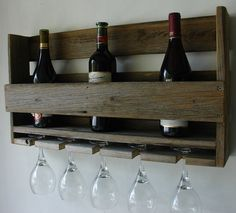 Simply Rustic Reclaimed Wood Wine Rack with 5 Glass by KeoDecor, $50.00