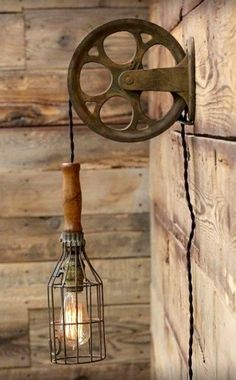 Pulley mechanism with wire cage trouble lamp becomes neat wall lamp #LampMurale