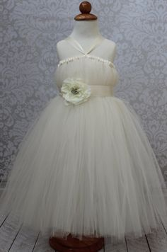 Ivory Tutu Dress Flower Girl Birthdays Halloween by coutureflower, $50.00